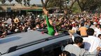 Myanmar opposition leader Aung San Suu Kyi during a political rally in Pathein,