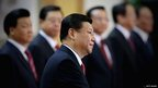 China's leader-in-waiting, Xi Jinping, with members of the Politburo Standing Committee after the 18th China Communist Party Congress, 15 November 2012