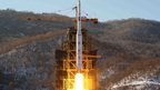 North Korea's Unha-3 rocket, carrying the satellite Kwangmyongsong-3, lifts off from the launch pad in Cholsan county, North Pyongang province on 12 December 2012