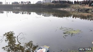 The pond in which the van crashed in Jianxi province, China