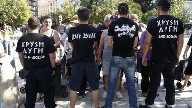 Golden Dawn members in Athens, 1 August 2012
