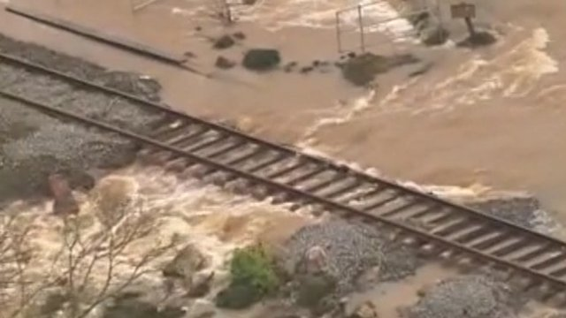 Flooded railway line