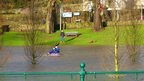 Man kayaking in the park.in Haugh Park, Cupar, Fife, Scotland