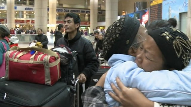 Immigrants from India arrive at Tel Aviv airport