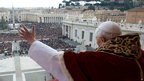 Pope Benedict XVI delivering his Christmas Day message from the central balcony of St. Peter's Basilica at the Vatican. Photo 25 December 2012