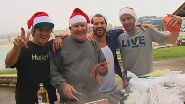 A Christmas Day barbeque at Bondi Beach in Sydney, Australia