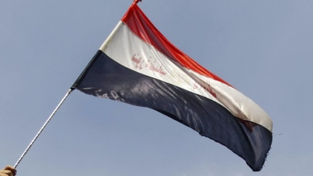 Egyptian flag held by a supporter of President Morsi