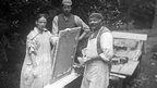 Mary Watts and her helpers prepare plaster panels at Limnerslease
