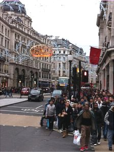 Shoppers on London's Regent Street