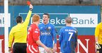 Glenavon had Conor Hagan sent-off during the first half at Shamrock Park