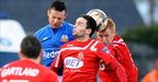 Ciaran Martyn and Neil McCafferty in action during Portadown&#039;s win over Glenavon