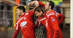 Sean Mackle and Tim Mouncey congratulate Portadown goalscorer Richard Lecky