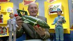 Gerry Anderson holds Thunderbird 2 on the 40th anniversary of the Thunderbirds