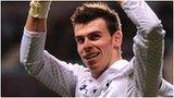 Tottenham winger Gareth Bale celebrates at Villa Park