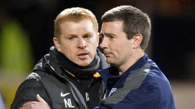 Celtic manager Neil Lennon and Dundee boss Barry Smith