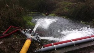 Flood water pumped from electricity substation in Reading