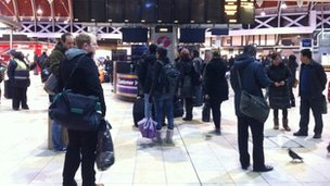 Passengers at Paddington station