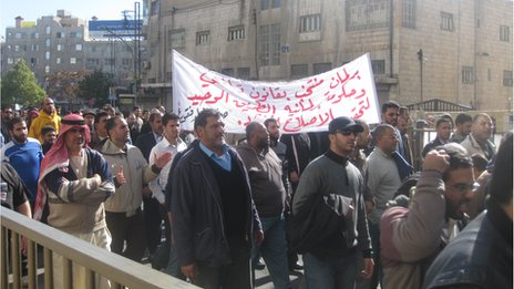 Anti-government protesters in Amman