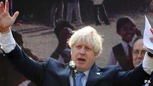 Boris Johnson speaking in Delhi
