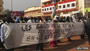 Protesters in Bangui (19 December 2012)