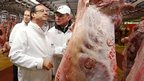 French President Francois Hollande at the meat pavilion at the Rungis wholesale market near Paris, France - 27 December 2012