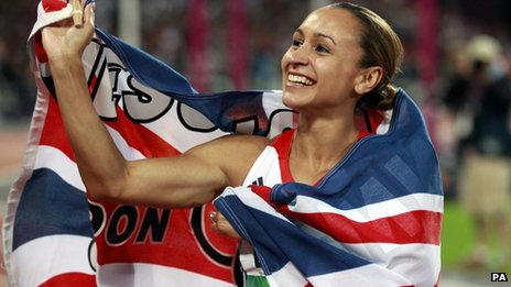 Jessica Ennis celebrates winning the Heptathlon, after the 800m event during day eight of the London Olympic Games
