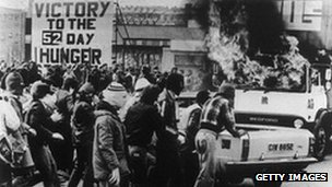 Trouble in Belfast during the 1981 hunger strike