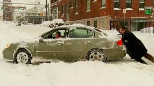 A car stuck in snow in New York state