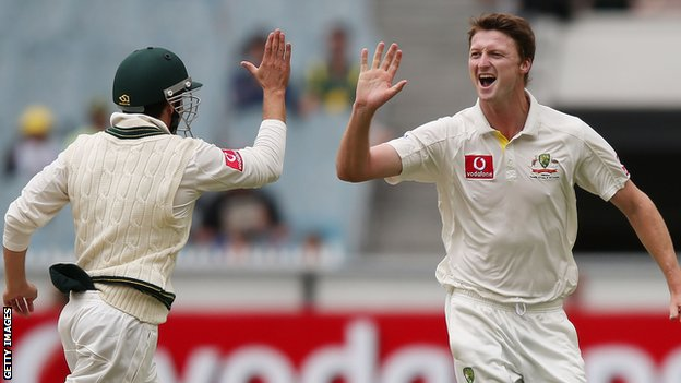 Jackson Bird celebrates with Ed Cowan after removing Mahela Jayawardene