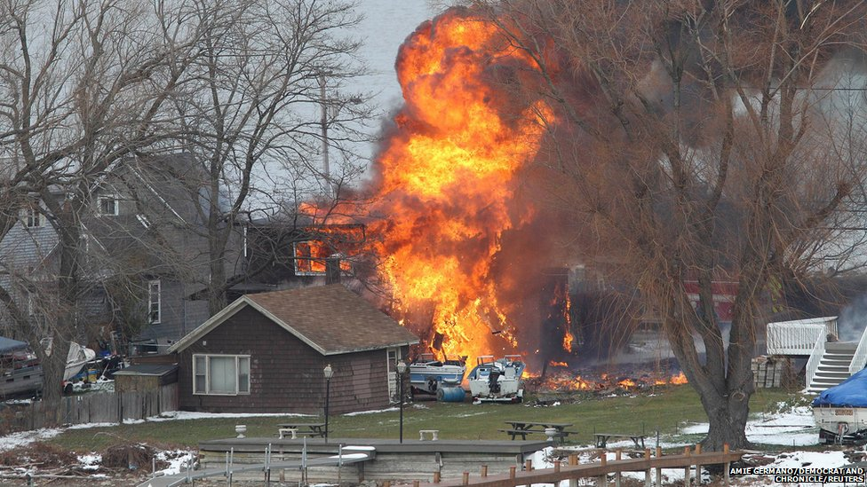 A house burns in Webster, New York