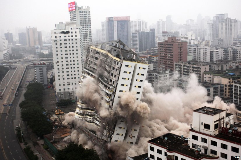 A building being demolished in Haikou, south China's Hainan province