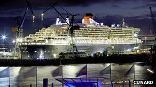Queen Mary II at Blohm and Voss Shipyard in 2011, following a refit