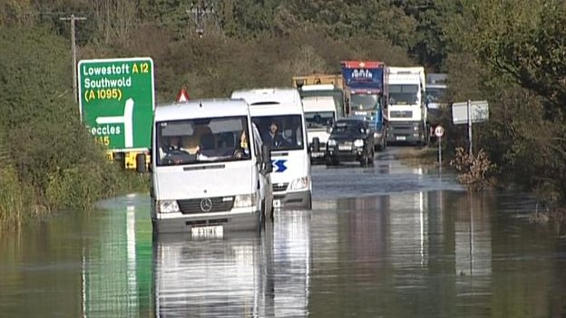 A12 flooding at Blythburgh