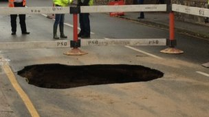 A hole in St Clement coast road