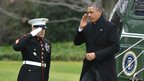 US President Barack Obama steps off Marine One on the South Lawn upon return to the White House