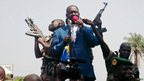 Central African Republic President Francois Bozize speaks to a crowd of supporters and anti-rebel protesters during an appeal for help, in Bangui