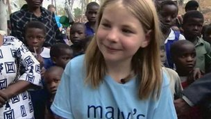 Martha Payne with children in Malawi