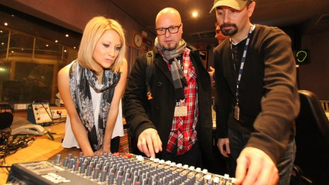 Kelly Betts (Three Counties) and Alan Raw (Radio Leeds) brush up on their recording skills with engineer Armen Kanikanian