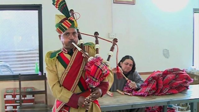 A bagpipe being played in the factory in Pakistan