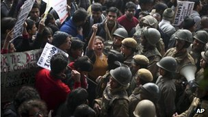 An Indian protester shouts slogans during a protest against the recent gang-rape of a young woman in a moving bus in New Delhi