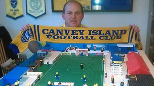 Jason Dorrington with his Lego version of Canvey Island FC