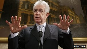 Italy&#039;s outgoing Prime Minister Mario Monti (28 Dec 2012)