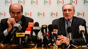 Italian anti-mafia prosecutor Pietro Grasso appearing with Democratic Party leader Pier Luigi Bersani