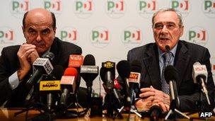 Italian anti-mafia prosecutor Pietro Grasso appearing with Democratic Party leader Pier Luigi Bersani