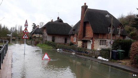 A flooded road in Clifton Hampden in Oxfordshire on 28 December