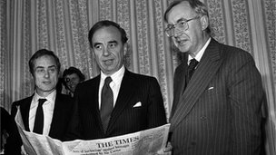 Harold Evans, Rupert Murdoch and William Rees-Mogg