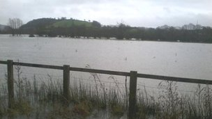 The River Towy's banks have burst in Carmarthen