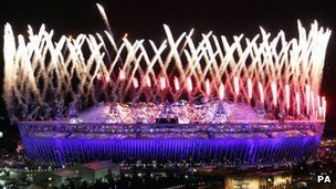 Fireworks at the Opening Ceremony at the Olympic Stadium, London