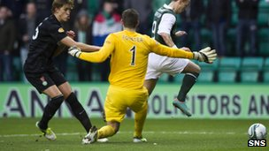 Leigh Griffiths fires Hibs in front at Easter Road 