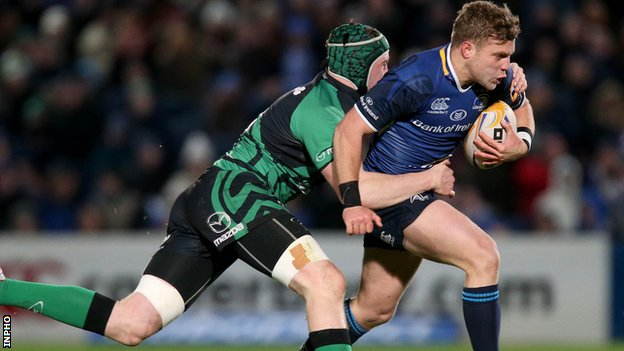 Connacht's Eoin McKeon tackles Ian Madigan at the RDS